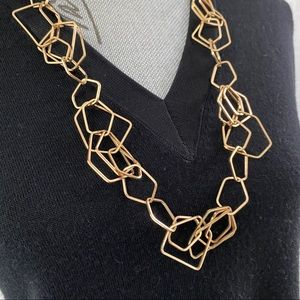 Geometric Chain link Gold Necklace
